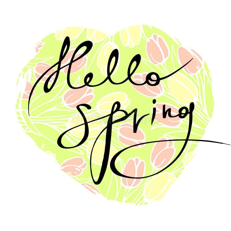 题字`你好,反对黄色和桃红色郁金香背景的春天`  皇族释放例证