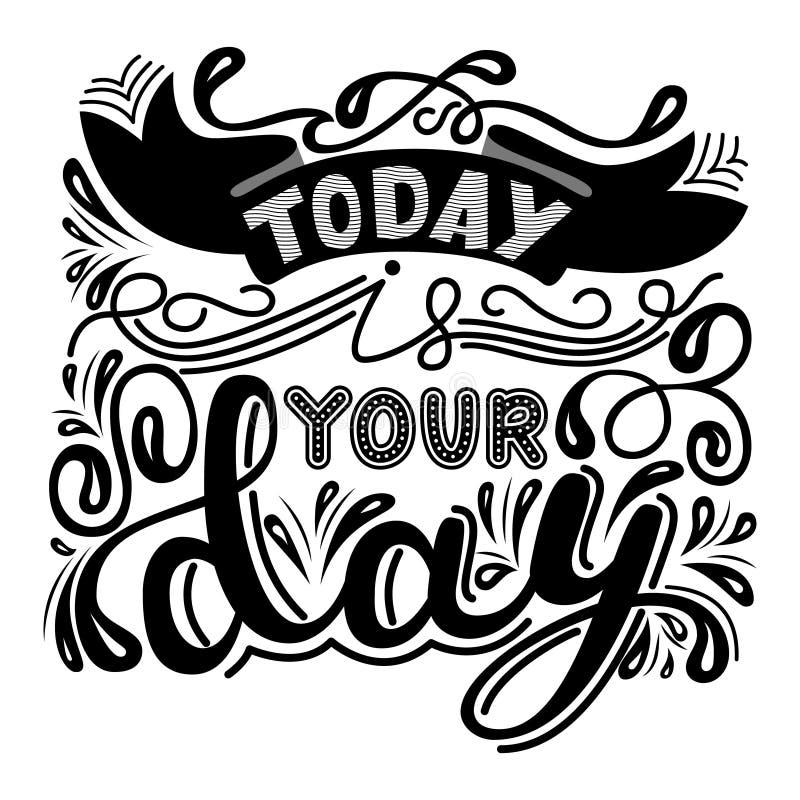 题字-今天是您的天 书信设计 手写的t 向量例证