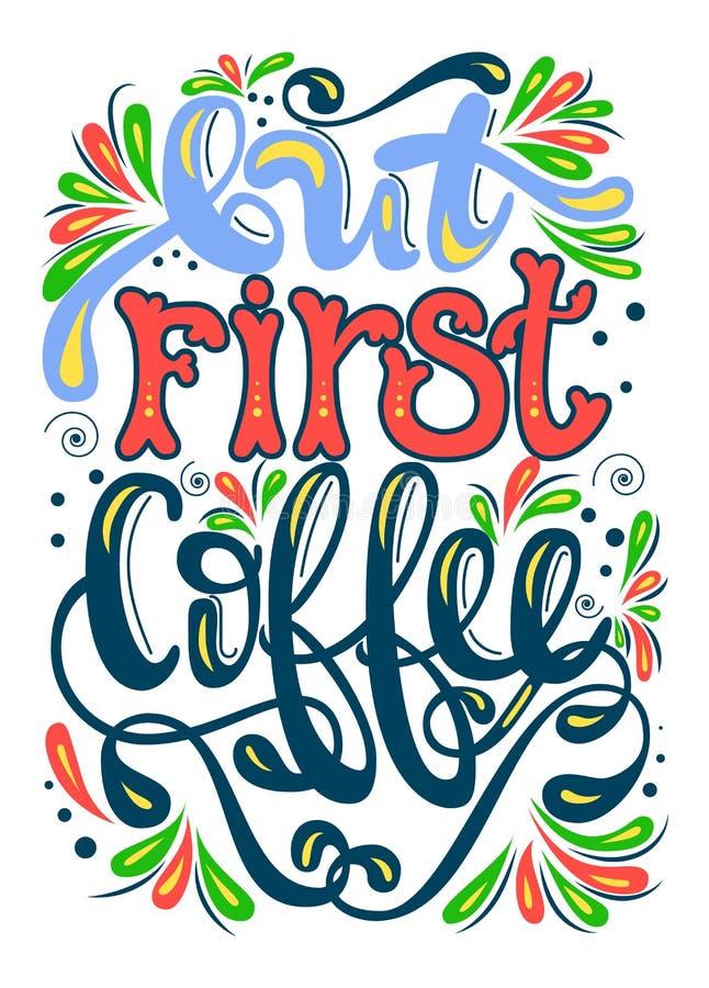 题字-,但是第一份咖啡 书信设计 手写ty 向量例证