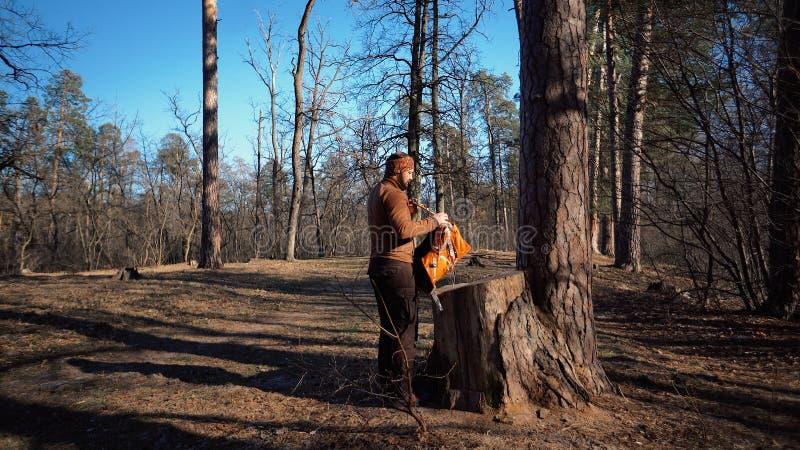 题材暴涨和旅行 一个白种人旅游人在树桩打开橙色背包,去掉他的事并且投入他们在 免版税库存照片