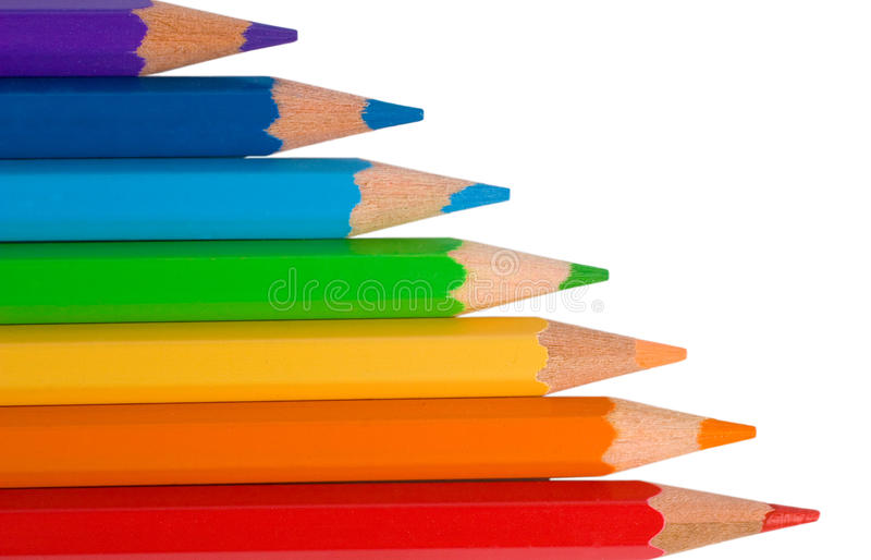 颜色上色铅笔彩虹 免版税库存照片