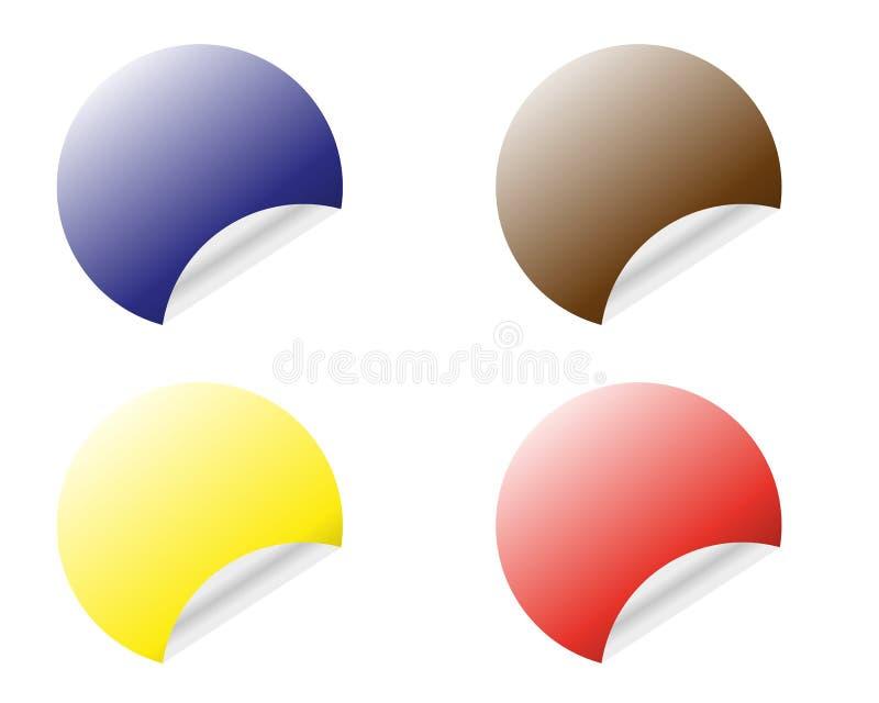 颜色与在白色背景隔绝的卷曲的边缘传染媒介模板的回合贴纸 皇族释放例证