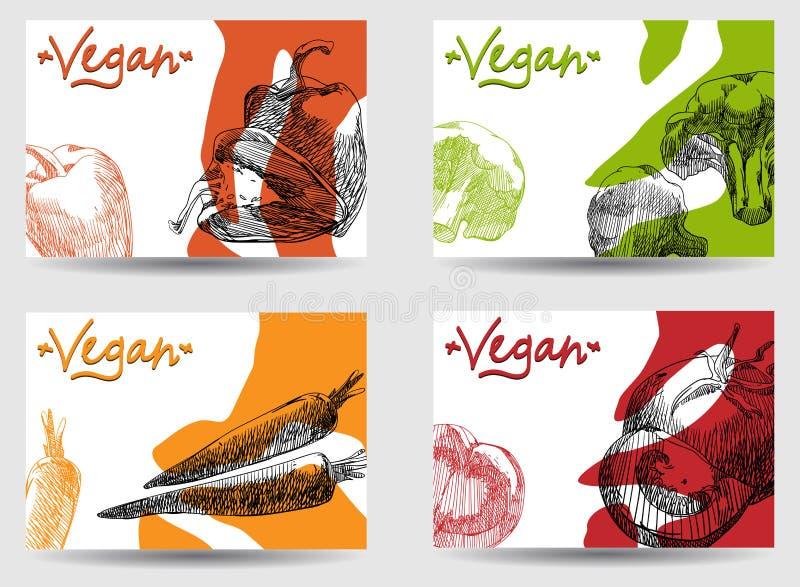 颜色与菜的素食主义者背景 库存例证