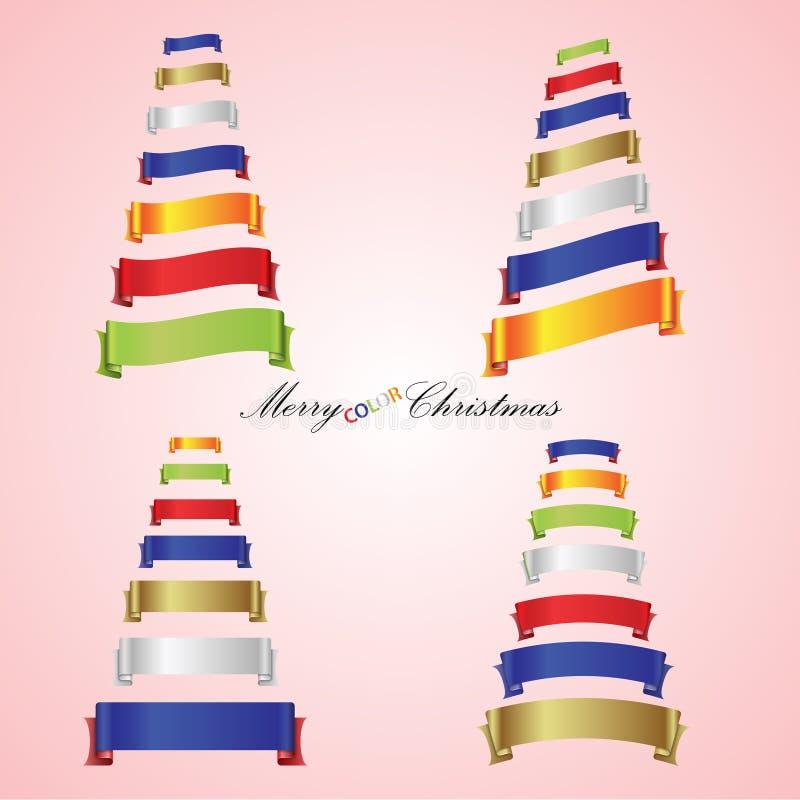 从颜色丝带横幅的圣诞快乐树 向量例证