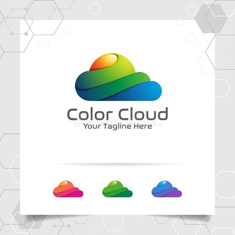 颜色云彩商标与现代五颜六色的云彩的概念的传染媒介设计 云彩事务,应用程序,云彩主持和云彩的象传染媒介 皇族释放例证