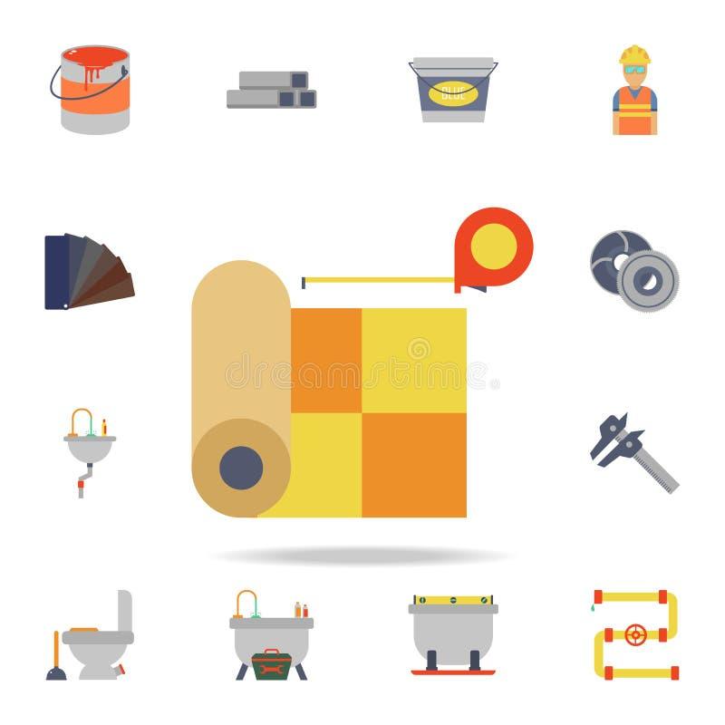 颜色亚麻油地毡和卷尺象 详细的套颜色建筑工具 优质图形设计 一汇集 向量例证