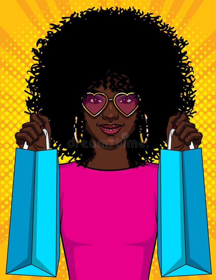 颜色传染媒介流行艺术一个女孩的样式例证有包裹的 拿着购物带来的美丽的年轻非裔美国人的女孩 H 向量例证