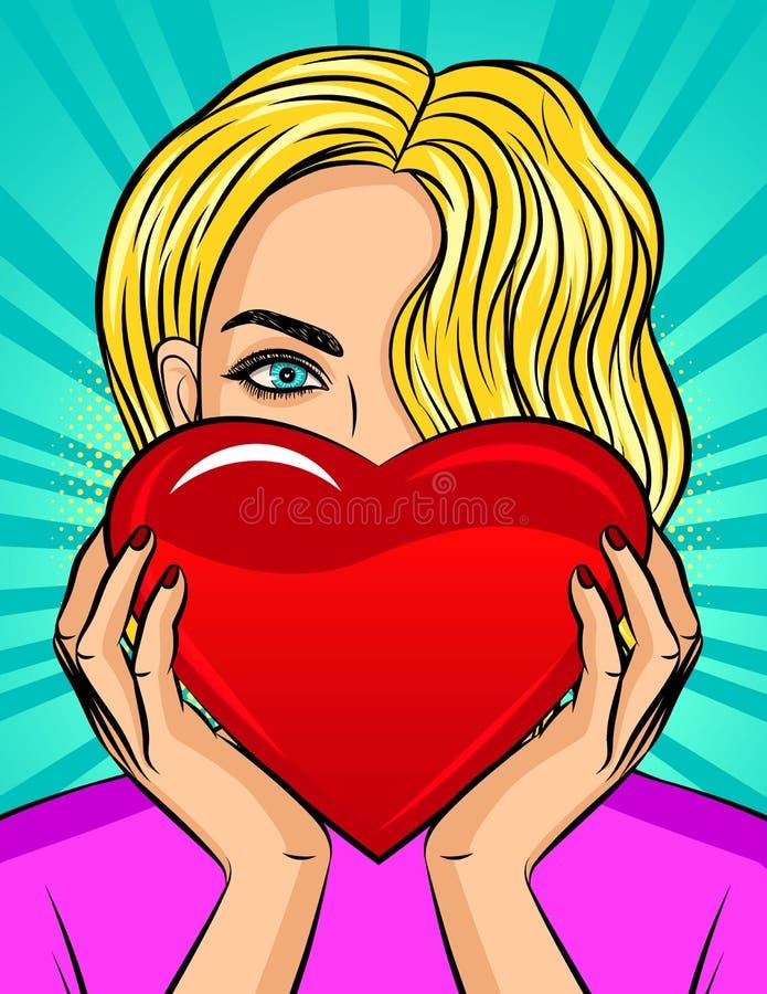 颜色传染媒介流行艺术女孩的样式例证在她的手上的拿着心脏 有蓝眼睛的美丽的金发碧眼的女人拿着一红心 皇族释放例证