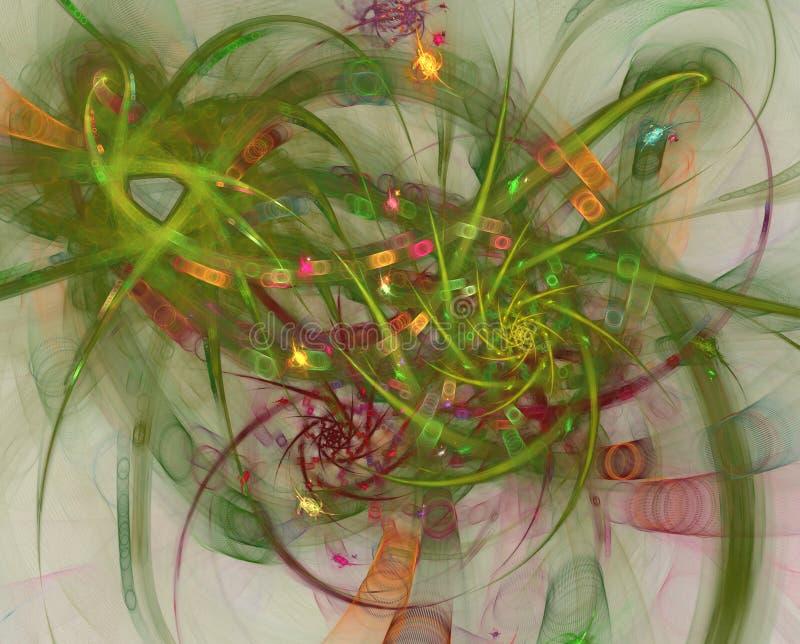 颜色光线影响 抽象亮光烟花和导线 烟花和庆祝 向量例证