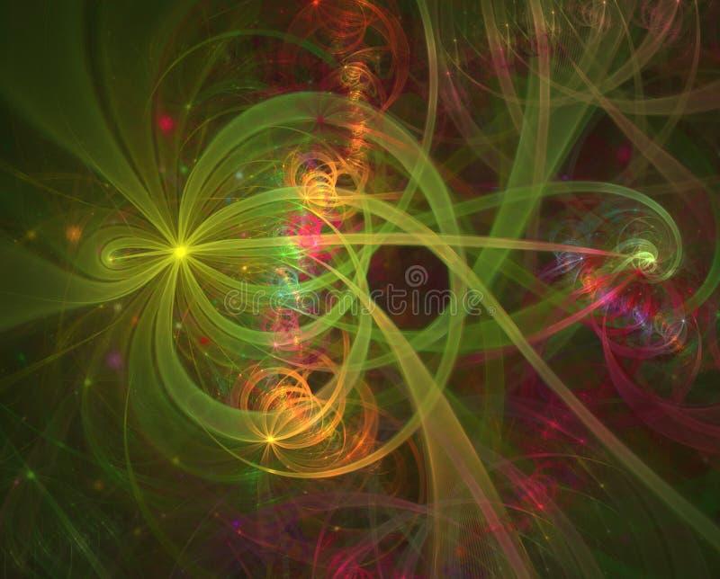 颜色光线影响 抽象亮光烟花和导线 烟花和庆祝 库存例证