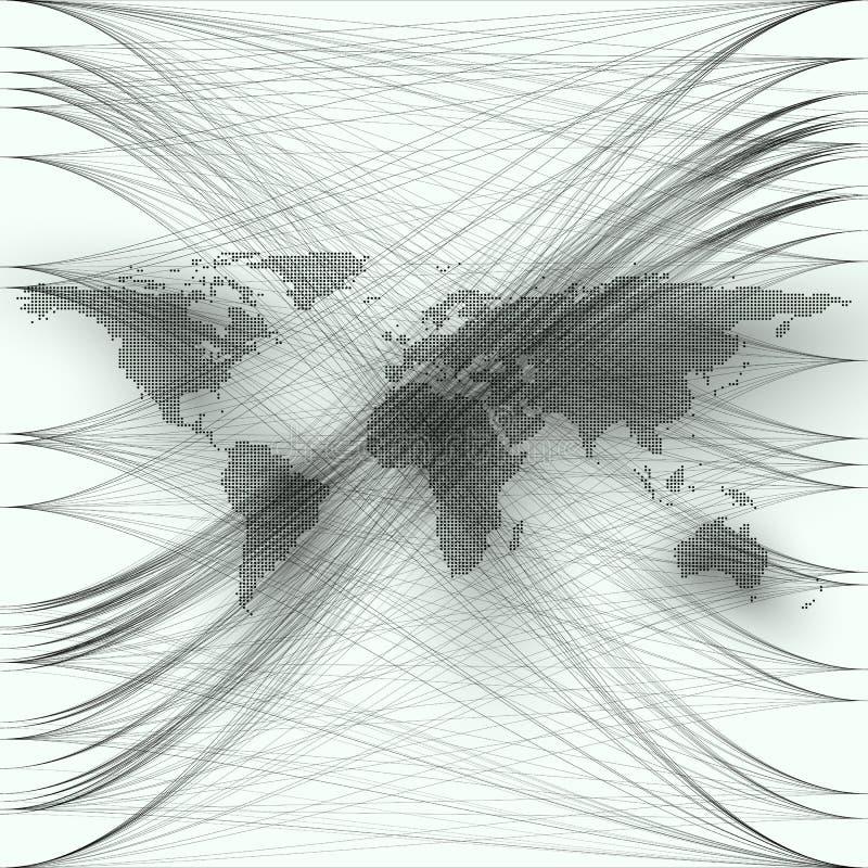 黑颜色加点了与抽象波浪和线的世界地图在白色背景 行动设计 灰色混乱,任意 向量例证