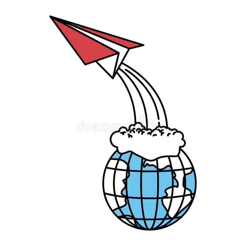 颜色区段现出轮廓地球地球和纸平面飞行 皇族释放例证