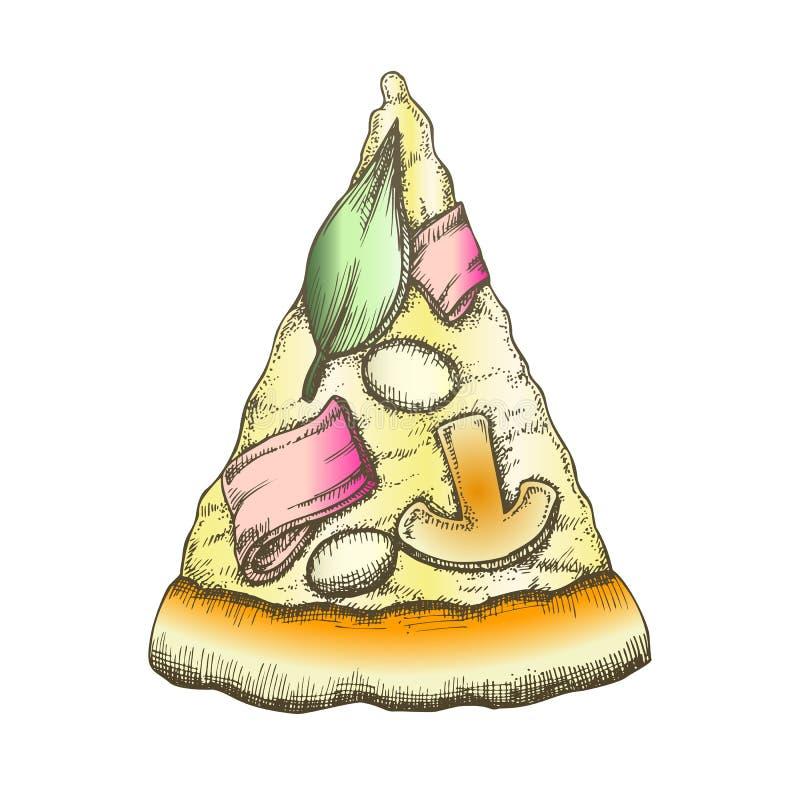 颜色可口意大利切片比萨单色传染媒介 向量例证