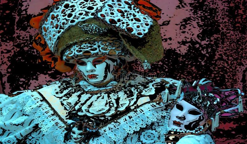 颜色和美好的狂欢节的面具 皇族释放例证