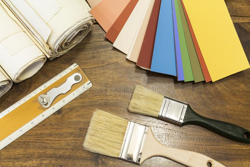 颜色图表和刷子 库存图片