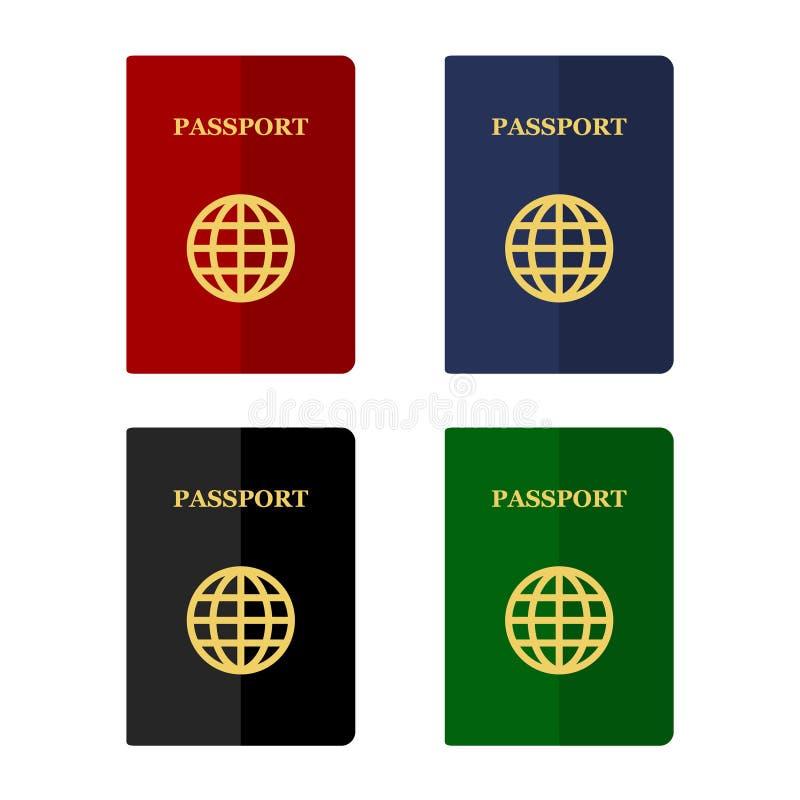颜色在平的样式设置的护照象 向量 库存例证