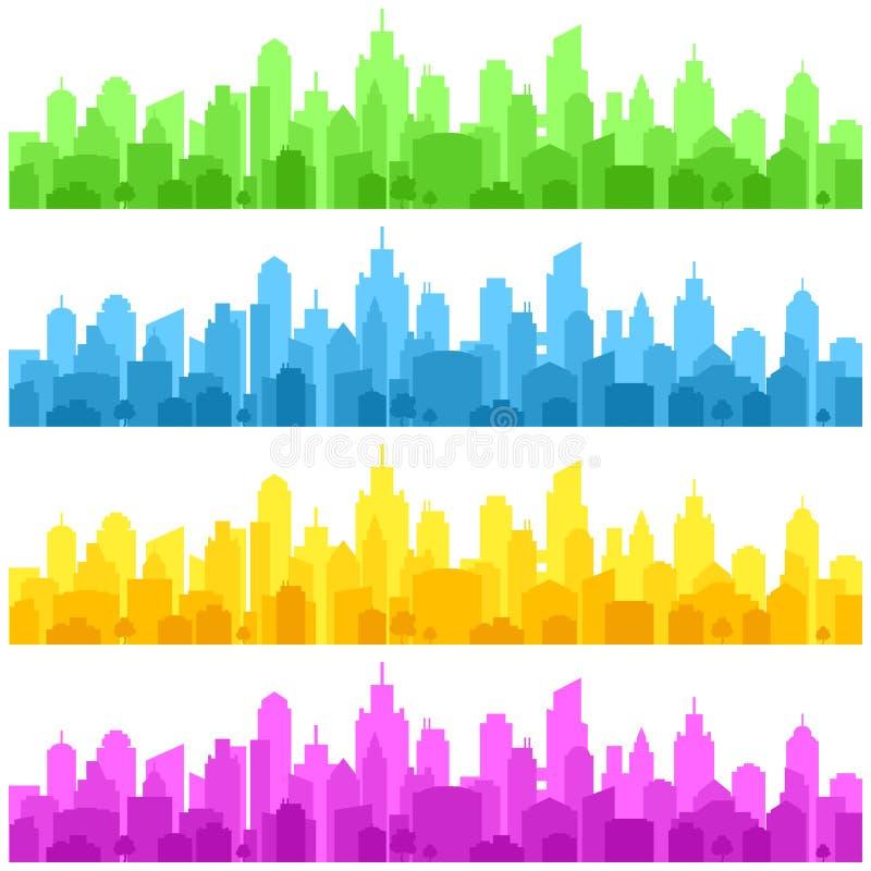 颜色在白色的城市风景 r 向量例证
