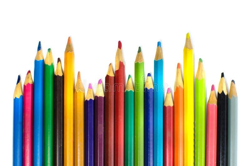 颜色在白色背景的铅笔孤立 免版税库存图片