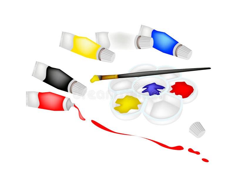 颜色在调色板的油漆管有艺术家刷子的 库存例证
