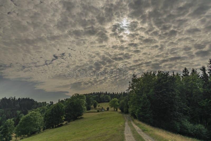 颜色在Velky Javornik附近的夏天视图在摩拉维亚和斯洛伐克边界 免版税库存图片