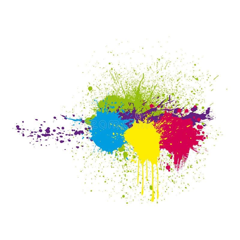颜色墨水泼溅物 库存例证