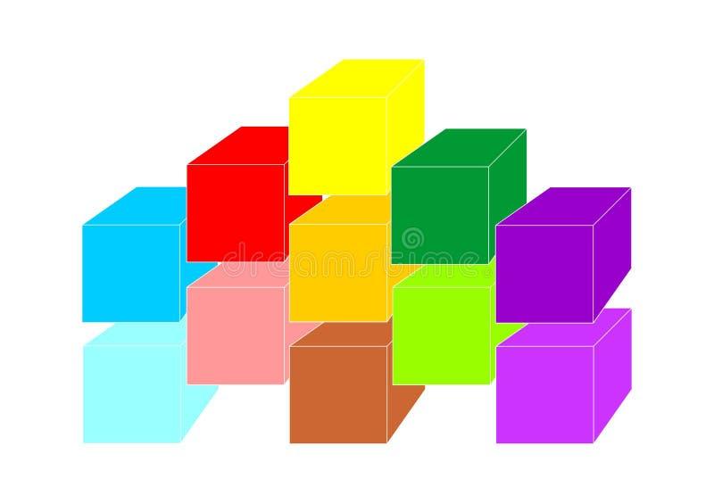 颜色多维数据集 库存例证