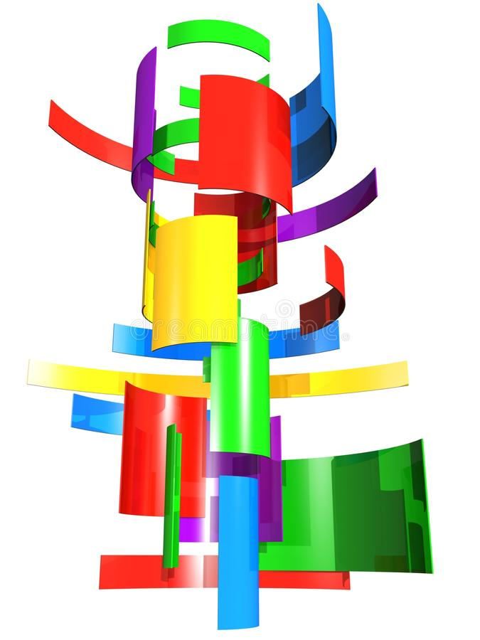 颜色多部分塑造正方形对变换 向量例证