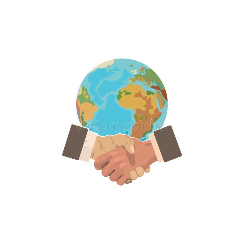 颜色女儿图象母亲二 企业想法-握手和行星 国际性组织 库存例证