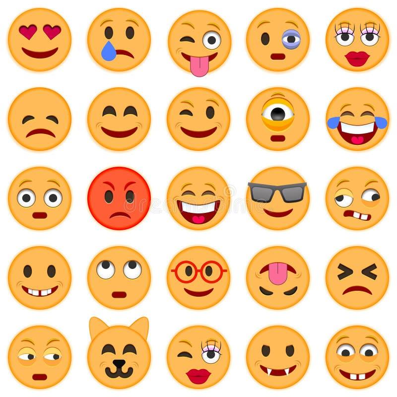 颜色容易的编辑可能的意思号例证集合向量 套Emoji 微笑象 库存例证