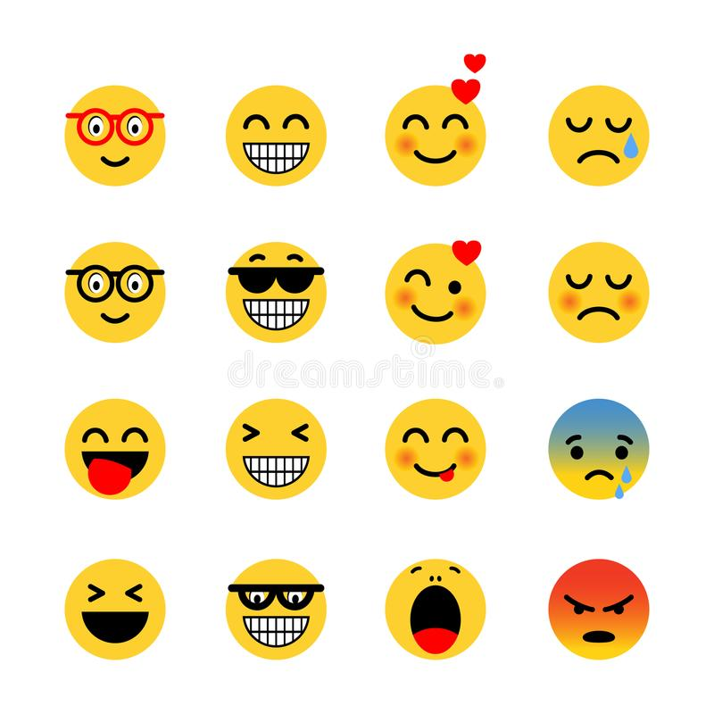 颜色容易的编辑可能的意思号例证集合向量 表示面孔象简单的平的例证 皇族释放例证