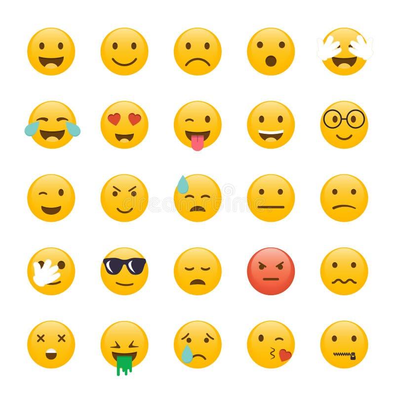 颜色容易的编辑可能的意思号例证集合向量 Emoji平的设计,具体化设计 传染媒介illus 库存例证