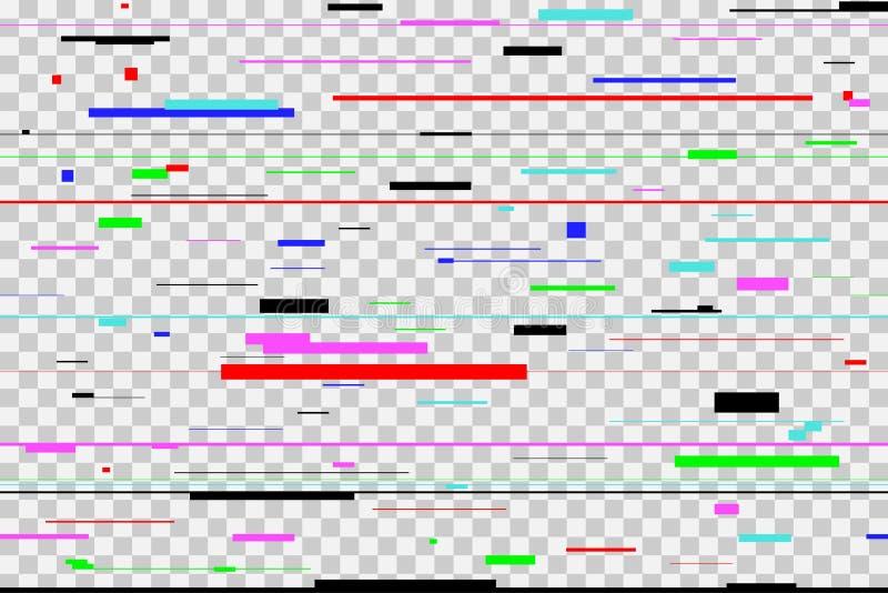 颜色小故障背景 数字式五颜六色的映象点噪声,隔绝在透明 屏幕信号错误 向量 皇族释放例证