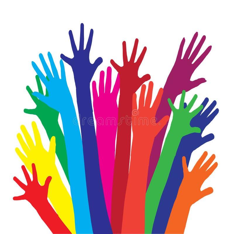 颜色手传染媒介剪影  向量例证