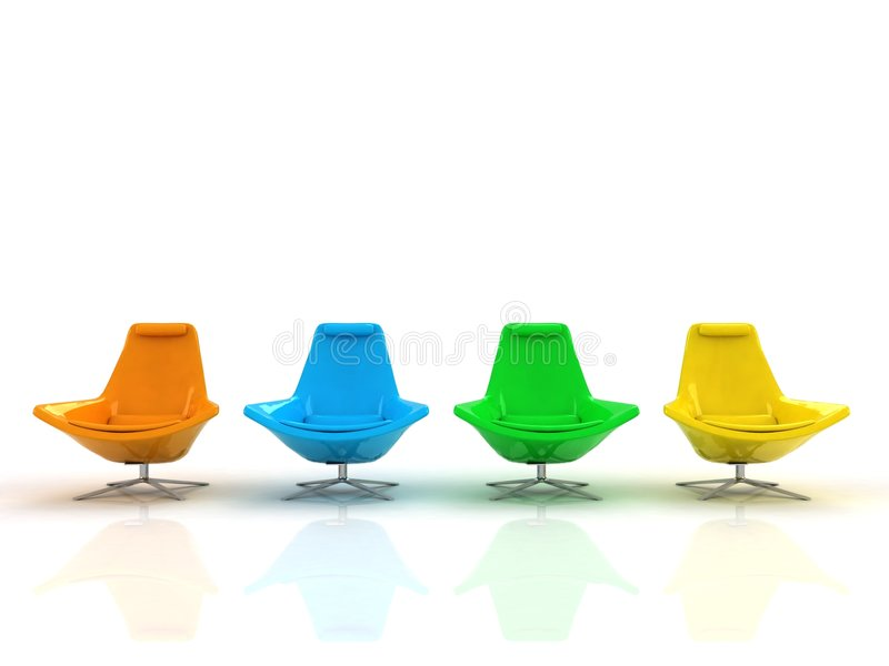颜色扶手椅子 库存照片