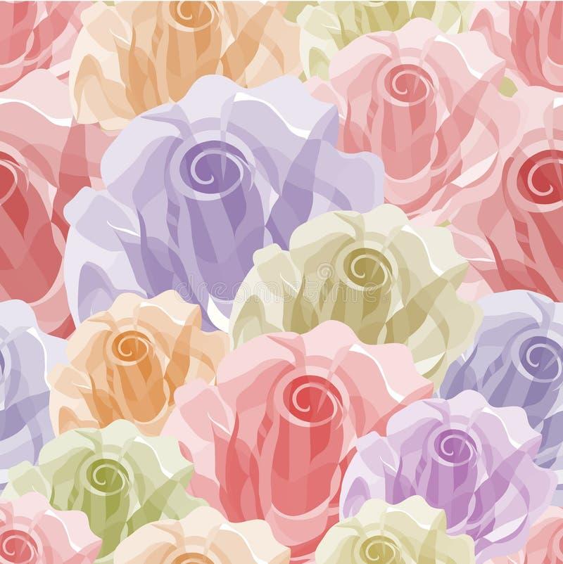 颜色无缝模式的玫瑰 皇族释放例证