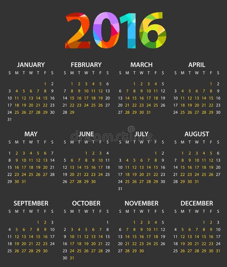 2016年颜色日历模板 向量例证