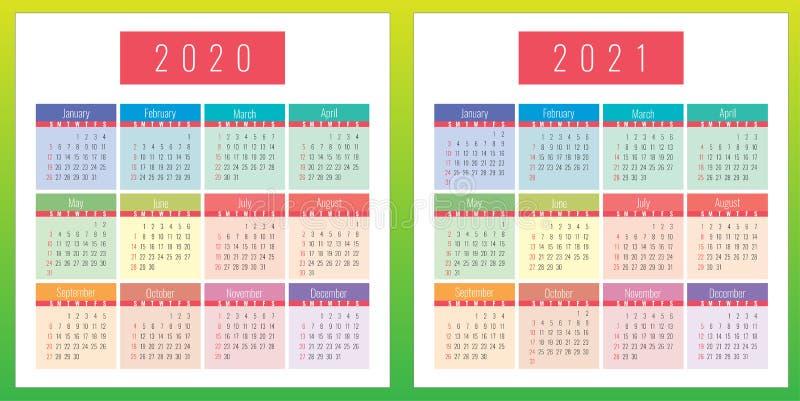 颜色日历设置了2020年和2021年图片