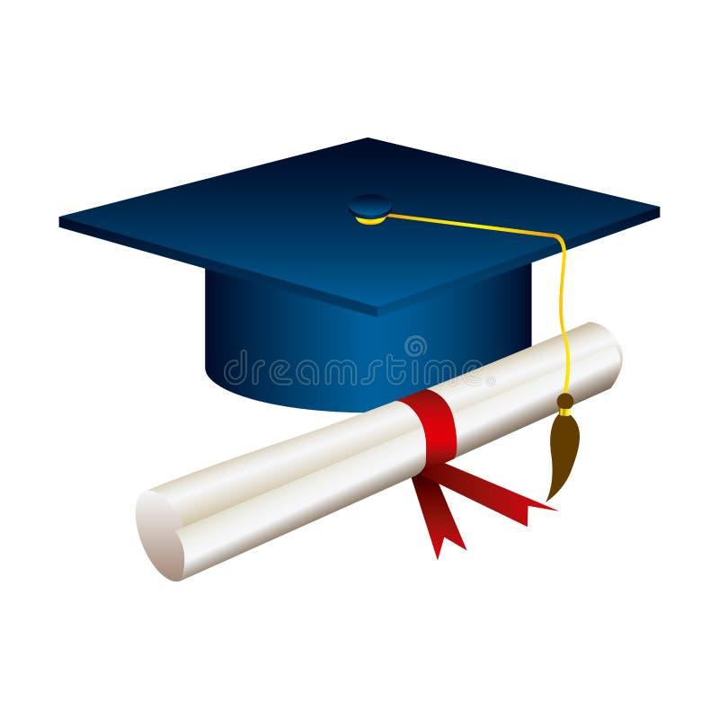 颜色有文凭的毕业帽子 库存例证