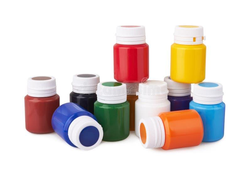 颜色树胶水彩画颜料瓶子和颜色丙烯酸漆 库存图片