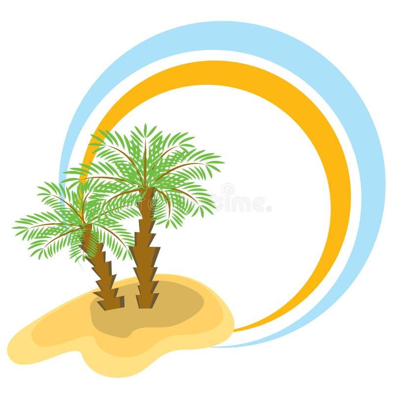 颜色框架棕榈树二 库存例证