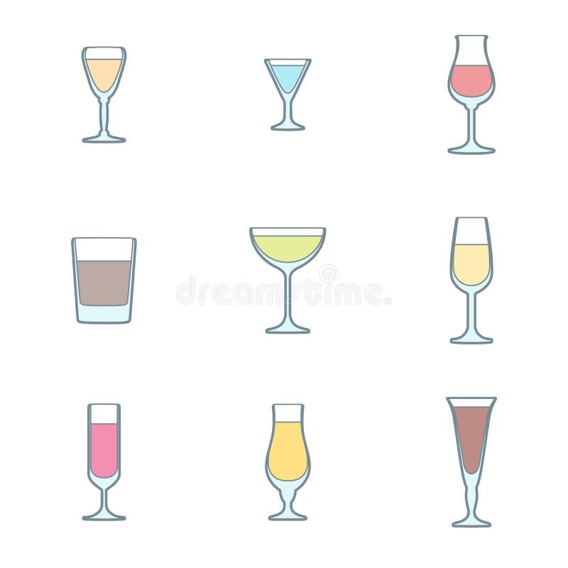 颜色概述酒精玻璃象集合 向量例证