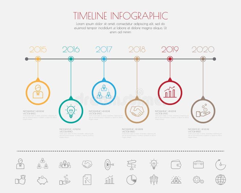 颜色步设计干净的数字时间安排模板/图表或者网 向量例证