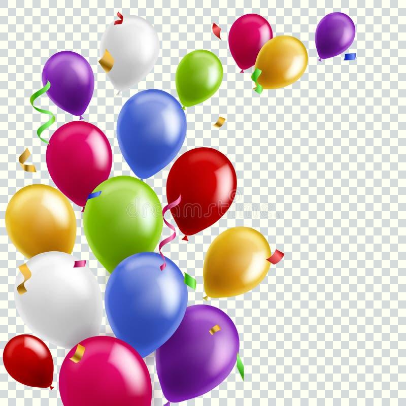颜色气球背景 飞行的五颜六色的气球生日宴会装饰 周年庆祝卡片,横幅 皇族释放例证