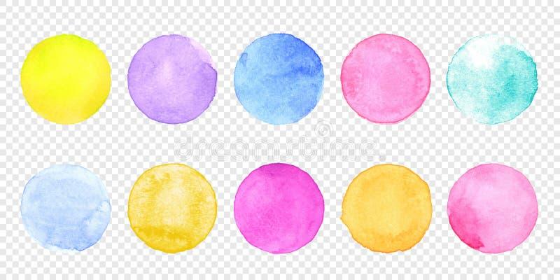 颜色水彩圈子集合 传染媒介污迹水彩在透明背景的飞溅污点 向量例证
