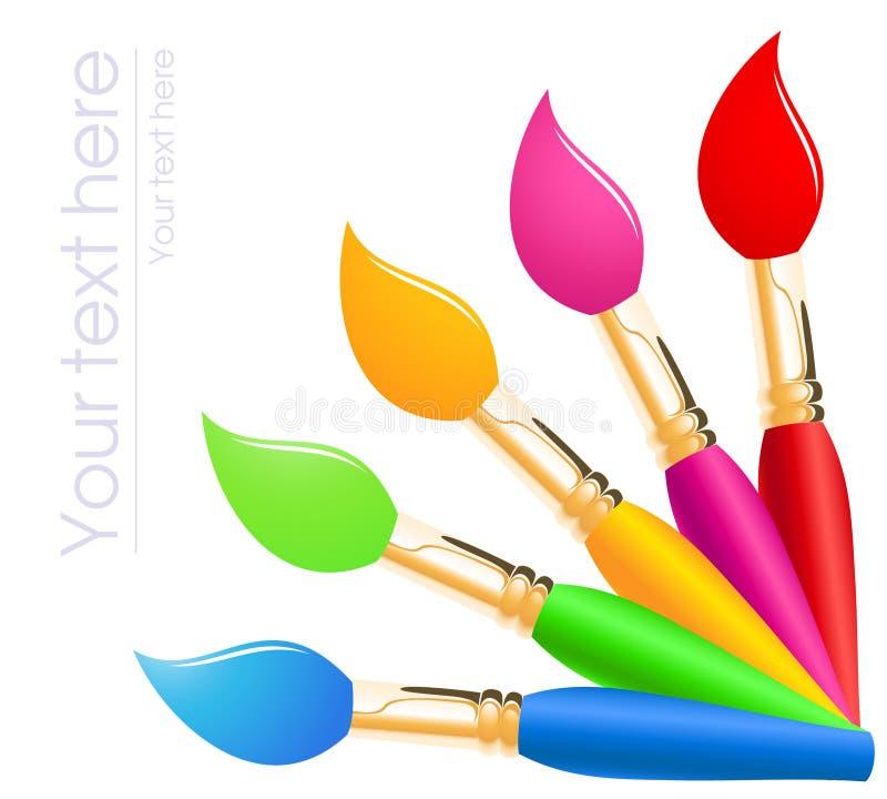 颜色油漆刷彩虹 向量例证