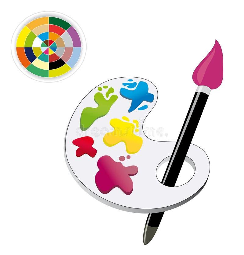 颜色油漆刷调色板光谱 向量例证