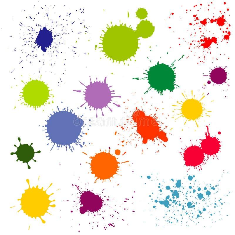 颜色油漆泼溅物,墨水弄脏传染媒介汇集 向量例证