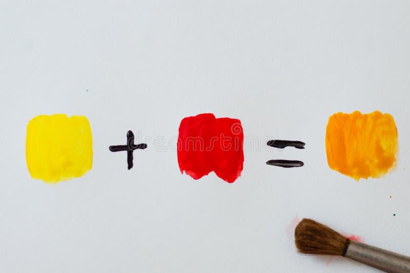 颜色混合或颜色算术 免版税库存图片
