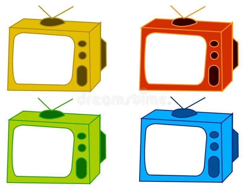 颜色电视 库存例证