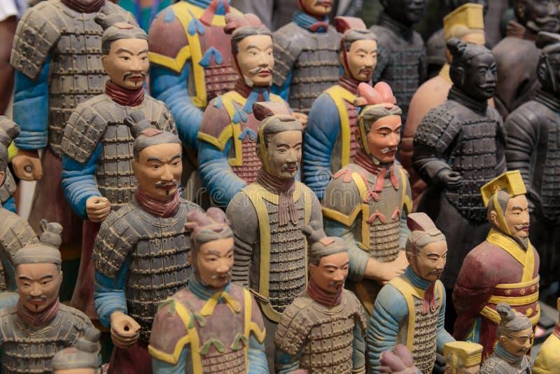 颜色的赤土陶器战士 图库摄影